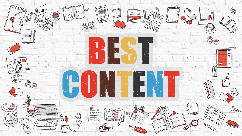Best Content. Multicolor Inscription on White Brick Wall with Doodle Icons Around. Best Content Concept. Modern Style Illustration with Doodle Design Icons. Best Content on White Brickwall Background.-1