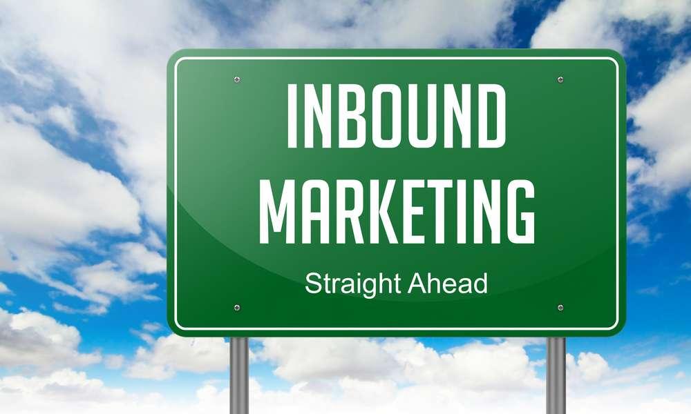 Highway Signpost with Inbound Marketing wording on Sky Background.
